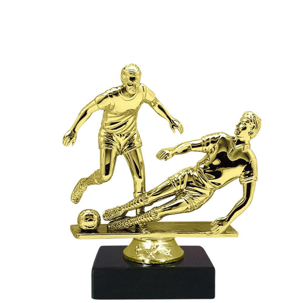 Dual Male Soccer Figure on Marble Base Trophy