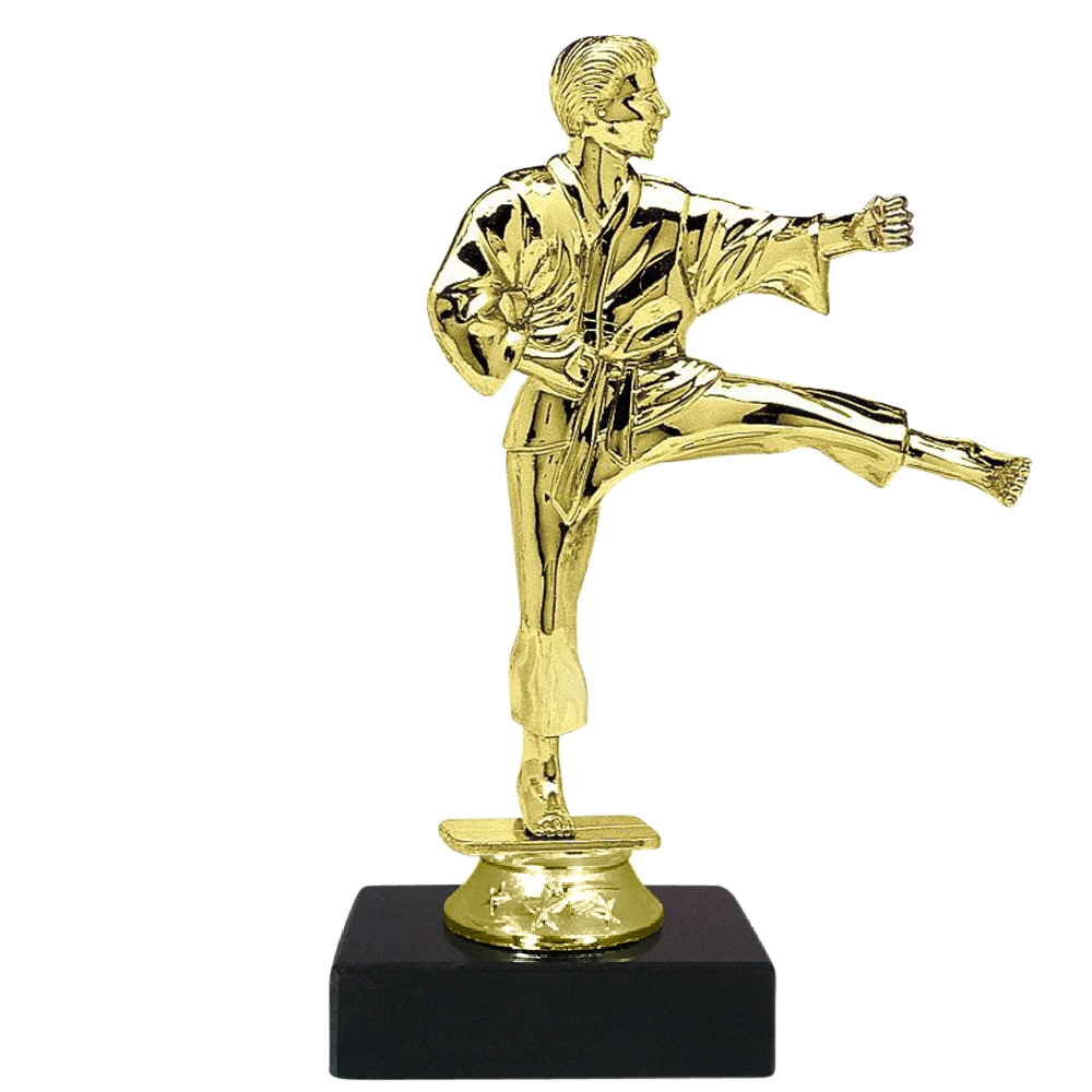 Male Martial Arts Figure on Marble Base Trophy