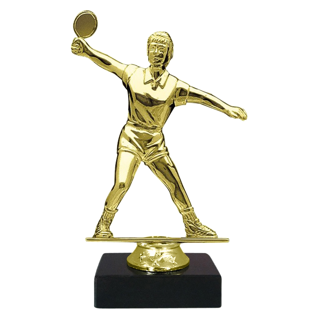 Female Table Tennis Figure on Marble Base Trophy