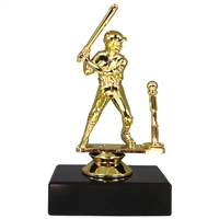 Female T-Ball Figure on Marble Base Trophy