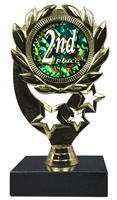 "6-1/4"" Diamond Holograph 2nd Place Insert Sport Wreath Trophy"