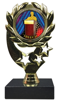 "6-1/4"" FCL Speech Insert Sport Wreath Trophy"