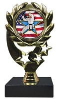 "6-1/4"" Flag Karate Insert Sport Wreath Trophy"