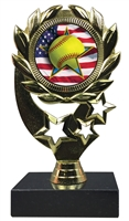 "6-1/4"" Flag Softball Insert Sport Wreath Trophy"