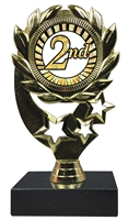 "6-1/4"" Sunburst 2nd Place Insert Sport Wreath Trophy"