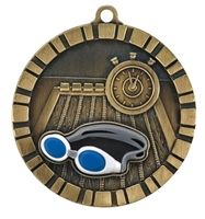 "2"" Raised Rubber Detail Swimming Medal IM240"