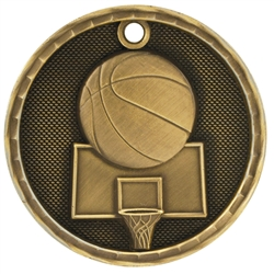 "2"" 3D Basketball Medal"