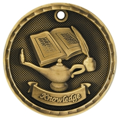"2"" 3D Lamp of Knowledge Medal"