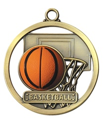 "2"" Raised Rubber Basketball Medal M403"