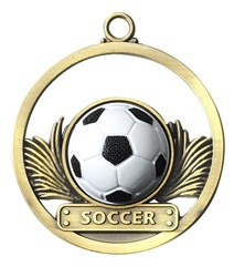 "2"" Raised Rubber Soccer Medal M413"