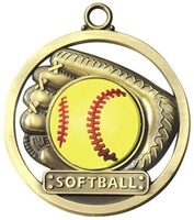 "2"" Raised Rubber Softball Medal M462"