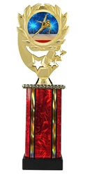Moonbeam Wreath Male Gymnastics Epoxy Dome Trophy in 11 Colors - in 3 Sizes