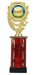Moonbeam Wreath Soccer Epoxy Dome Trophy in 11 Colors - in 3 Sizes