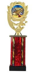 Moonbeam Wreath Pinewood Derby Epoxy Dome Trophy in 11 Colors - in 3 Sizes