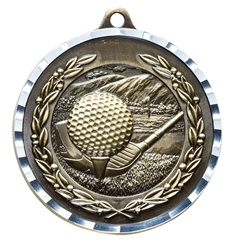 "2"" PREMIUM Diamond-Cut Golf Medals MDC07"