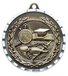 "2"" PREMIUM Diamond-Cut Swimming Medals MDC14"