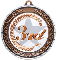 "2-3/4"" Premium Diamond Cut 3rd Place Medal MDC23"