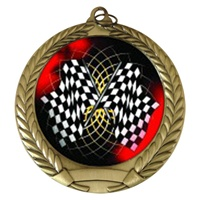 "2-3/4"" Racing Flags Holographic Mylar Medal MM292-FCL-436"