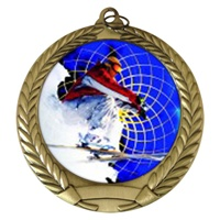 "2-3/4"" Snow Skier Holographic Mylar Medal MM292-FCL-460"