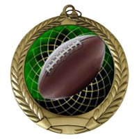 "2-3/4"" Football Holographic Mylar Medal MM292-FCL-475"