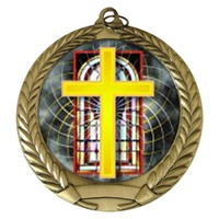 "2-3/4"" Religious Holographic Mylar Medal MM292-FCL-528"