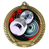 "2-3/4"" Weightlifter Holographic Mylar Medal MM292-FCL-574"