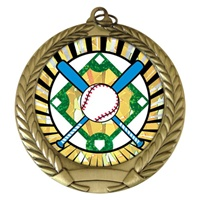 "2-3/4"" Baseball Crossed Bats SUNBURST Mylar Medal MM292-MY301"