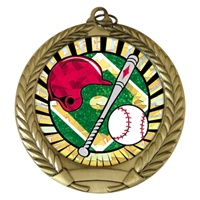 "2-3/4"" Baseball w/ Helmet SUNBURST Mylar Medal MM292-MY302"