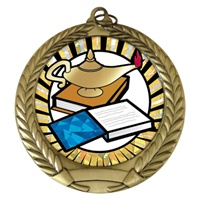 "2-3/4"" Lamp of Knowledge SUNBURST Mylar Medal MM292-MY325"