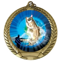"2-3/4"" Bass Fishing Medal"