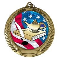 "2-3/4"" Lamp of Knowledge USA Mylar Medal MM292-MY515"