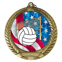 "2-3/4"" Volleyball USA Mylar Medal MM292-MY523"
