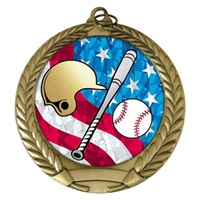 "2-3/4"" Baseball w/helmet USA Mylar Medal MM292-MY533"