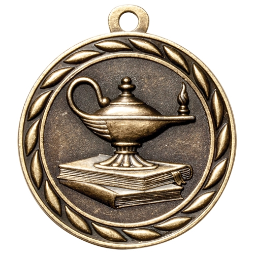 "2"" Scholastic Lamp of Knowledge Medal MS313"