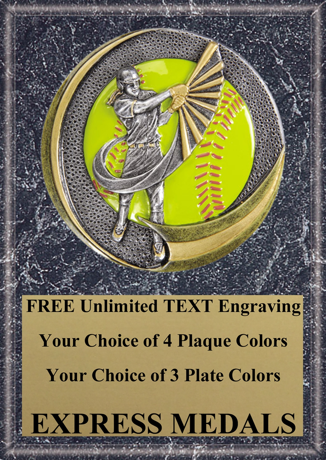Motion Extreme Softball  Plaque 4x6 & 5x7 MX102-VL