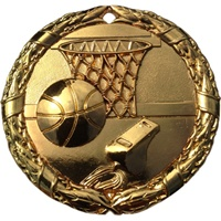 "2"" Shiny Wreath Basketball Medal NS06"