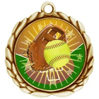 "2-1/2"" Wreath Color Insert Softball Medal O32A-FCL-138"
