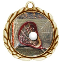 "2-1/2"" Wreath Color Insert Lacrosse Medal O32A-FCL-158"