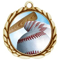 "2-1/2"" Wreath Color Insert Baseball Medal O32A-FCL-4"