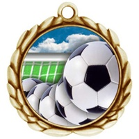 "2-1/2"" Wreath Color Insert Soccer Ball Medal O32A-FCL-40"