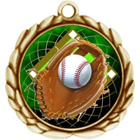 "2-1/2"" Wreath Color Insert Baseball Medal O32A-FCL-408"