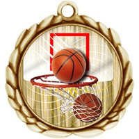 "2-1/2"" Wreath Color Insert Basketball Medal O32A-FCL-411"