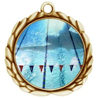 "2-1/2"" Wreath Color Insert Swimming Medal O32A-FCL-44"