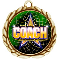 "2-1/2"" Wreath Color Insert Coach Medal O32A-FCL-442"