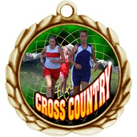 "2-1/2"" Wreath Color Insert Female X-Country Medal O32A-FCL-445"