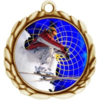 "2-1/2"" Wreath Color Insert Snow Skiing Medal O32A-FCL-460"