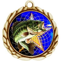 "2-1/2"" Wreath Color Insert Fishing Medal O32A-FCL-470"