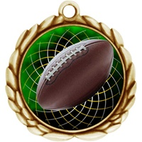 "2-1/2"" Wreath Color Insert Football Medal O32A-FCL-475"
