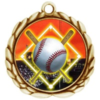 "2-1/2"" Wreath Color Insert Baseball Diamond Medal O32A-FCL-5"