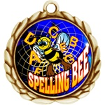 "2-1/2"" Wreath Color Insert Spelling Bee Medal O32A-FCL-554"